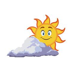 smiling sun cartoon mascot character image vector illustration