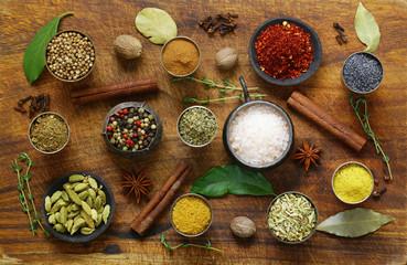 Various spices (pepper, fennel, turmeric, anise, cinnamon)
