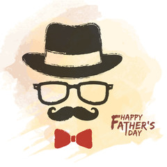 Happy Father's Day. Men face in retro hipster style with hat, eyeglasses, mustache and bow tie on watercolor background. Hand drawing of vintage old men's accessories.