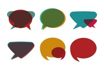 retro speech bubble icon set over background colorful design vector illustration
