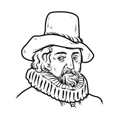 Francis Bacon Hand Drawing outline, Francis Bacon vector illustration