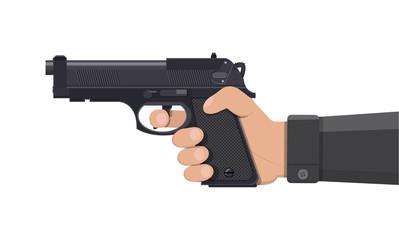 Pistol gun, automatic modern handgun in hand