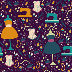 Vector Seamless Background with Sewing Accessories.