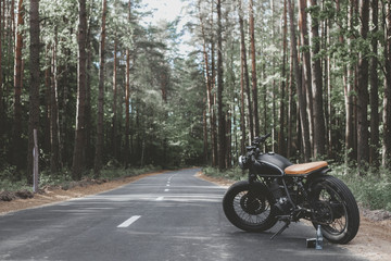 vintage caferacer in forest