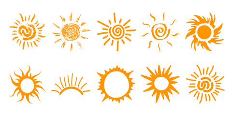 Collection of drawn sun icons, set 3