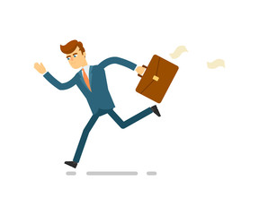 Running businessman hurrying to work