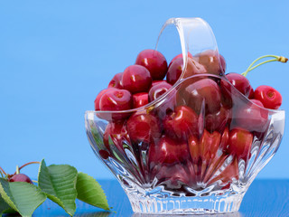 Freshly picked cherries in a crystal basket on a blue background, with a branch of cherry tree with leaves and cherries still on
