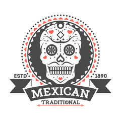 Mexican vintage isolated label with sugar skull