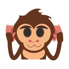 happy cute expressive monkey cartoon  icon image vector illustration design