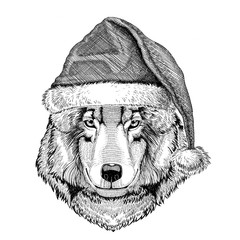Wolf Dog wearing christmas hat New year eve Merry christmas and happy new year Zoo life Holidays celebration Hand drawn image