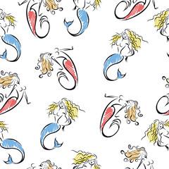 Seamless cartoon marine background with sea creatures mermaids