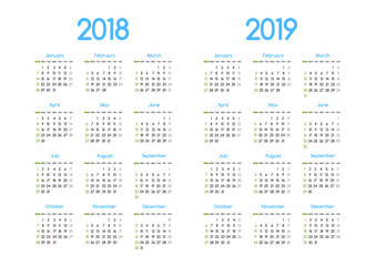 New year 2018 and 2019 vector calendar modern simple design with round san serif font,Holiday event planner,Week Starts Sunday