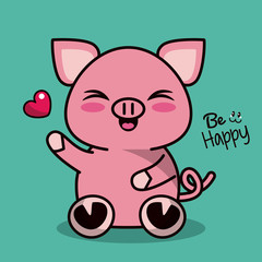 color background with cute kawaii animal pig expression wink eyes vector illustration