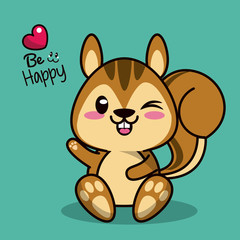 color background with cute kawaii animal chipmunk with wink eye vector illustration