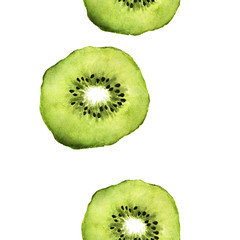 Watercolor seamless pattern with kiwi slices. Repeating green fruit background