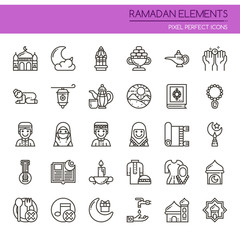 Ramadan Elements , Thin Line and Pixel Perfect Icons.