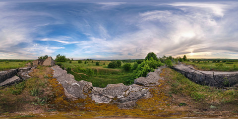 full 360 degree seamless panorama in equirectangular spherical equidistant projection. Panorama near abandoned fortress of the First World War at sunset. Background for virtual reality content