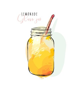 Hand drawn vector abstract artistic cooking illustration of tropical lemonade shake drink in glass jar isolated on white background.Diet detox concept.