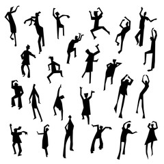 People figures in motion. Dancing people set. Cute black silhouettes of moving person.