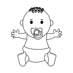 male baby with pacifier  icon image vector illustration design  black line