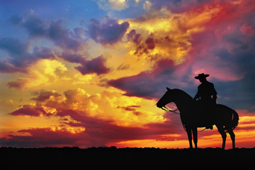 silhouette of cowboy on horse against cloudy evening sky