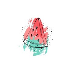Hand drawn vector abstract creative unusual summer time funny illustration with watermelon slice and freehand textures isolated on white background.Wedding,save the date,journaling,tshirt print art.