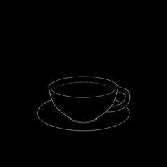 Coffee cup. Isolated on black background. Sketch illustration.