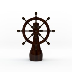 Ship helm. Isolated on white background. 3D rendering illustration.