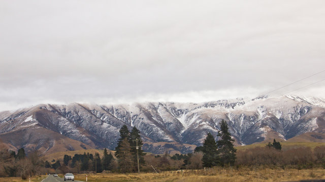 Snow melting view at New Zealand