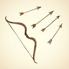 Bow arrows. Vector drawing