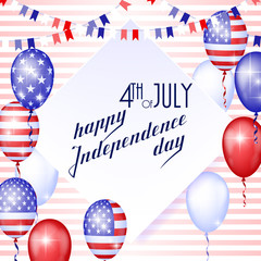 4th of July, American Independence Day celebration background with fire fireworks. Congratulations on Fourth of July.