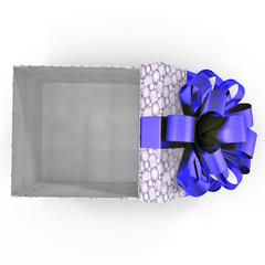 Empty blue gift box on white. Top view. 3D illustration