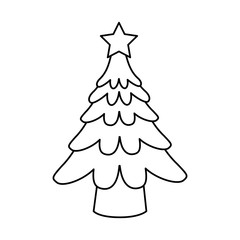 tree christmas related icon image vector illustration design  black line