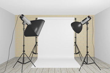 3D render illustration of full photography studio setup with white screen and some flashlights