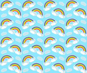 Rainbow seamless pattern. Colorful children's endless background, repeating texture. Vector illustration