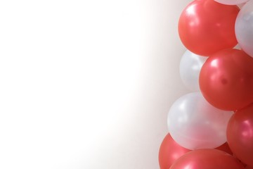 Red balloons on white background used for carnival