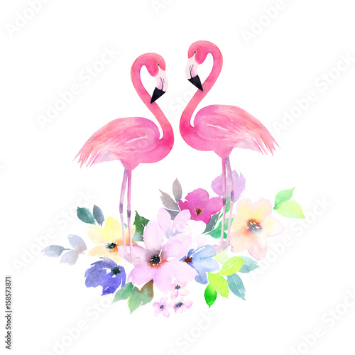 Quot Couple Pink Flamingos And Bouquet Flowers Watercolor