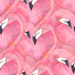 Wzór z akwarela różowe flamingo para w kształcie serca