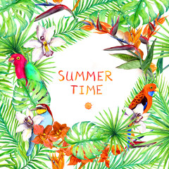 Tropical forest leaves, exotic flowers, parrot birds. Summer card or poster design. Watercolor
