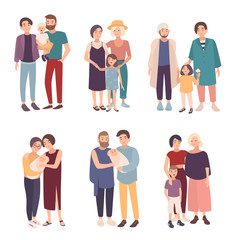 Set of gay couple with children of different ages. LGBT male and female with babies. Homosexual family collection. Colorful vector illustration in cartoon style.