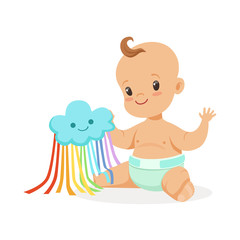 Sweet smiling baby in a diaper playing with toy cloud, colorful cartoon character vector Illustration