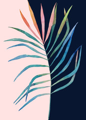 Abstract print. Watercolor leaf