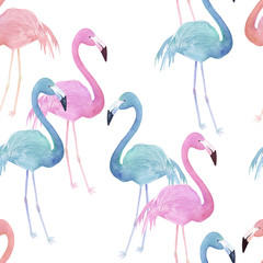 Watercolor seamless pattern with flamingo. Hand drawn illustration