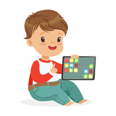 Smiling little boy sitting on the floor and playing with digital tablet. Child and modern technology colorful cartoon character vector Illustration
