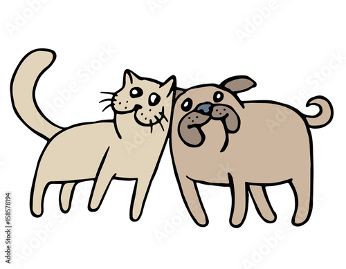 Cute cat and dog friendship. Vector illustration.