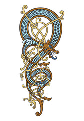 Celtic, Scandinavian vintage pattern is in the form of a twisted dragon