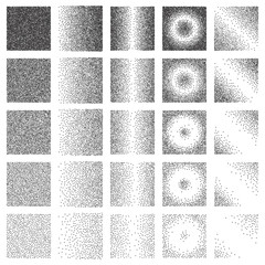 Halftone Pattern or Texture Collection. Set of Stipple Dot Backgrounds with Squares
