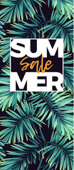 Dark floral sale design with exotic plants. Vector tropical banner with green phoenix palm leaves.