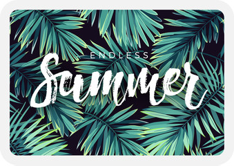 Dark tropical postcard design with exotic plants and lettering. Vector tropical background with green phoenix palm leaves.