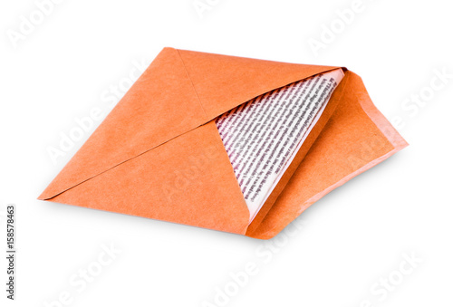 Open Envelope With Letter Writing On White Background Stock Photo